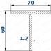 Профиль Т-образный 70*60*1,7 рефленый 1