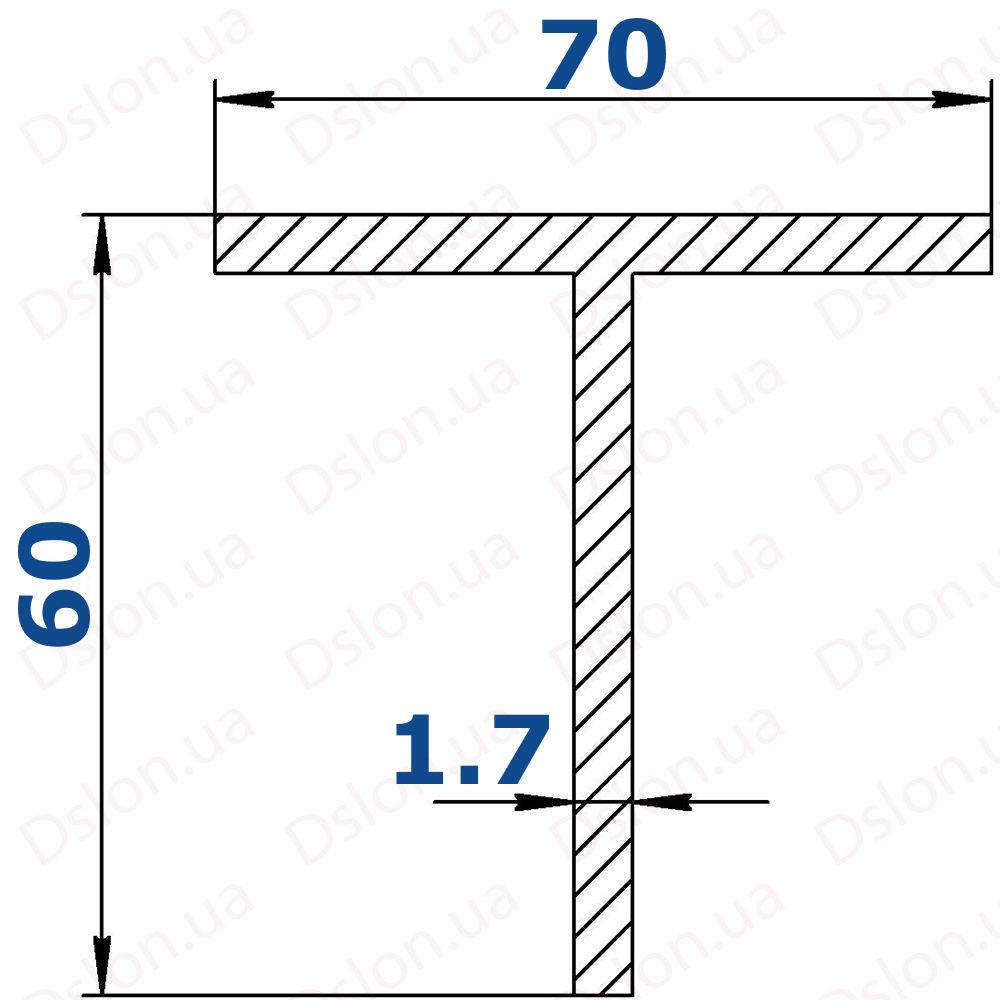 Профиль Т-образный 70*60*1,7 рефленый-1