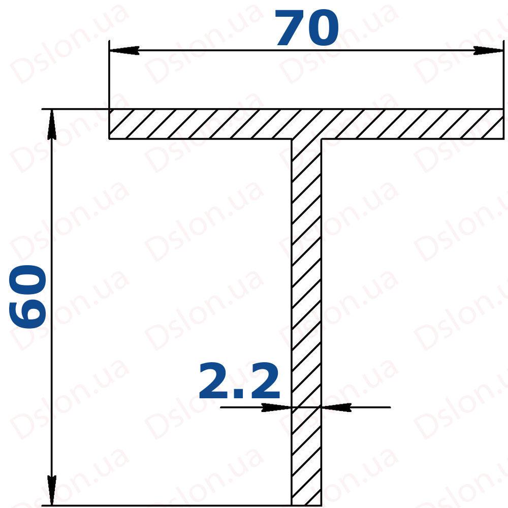 Профиль Т-образный 70*60*2,2 рефленый-1